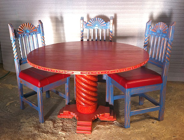 Great Southwest 48in Dining Set Sandblasted Red Table Blue Chairs With Red  Leather Seats