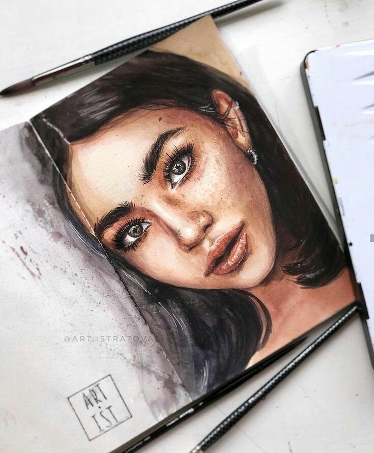 Llisajemima Zeichnungen Aquarell Gesicht Inspirierende Kunst