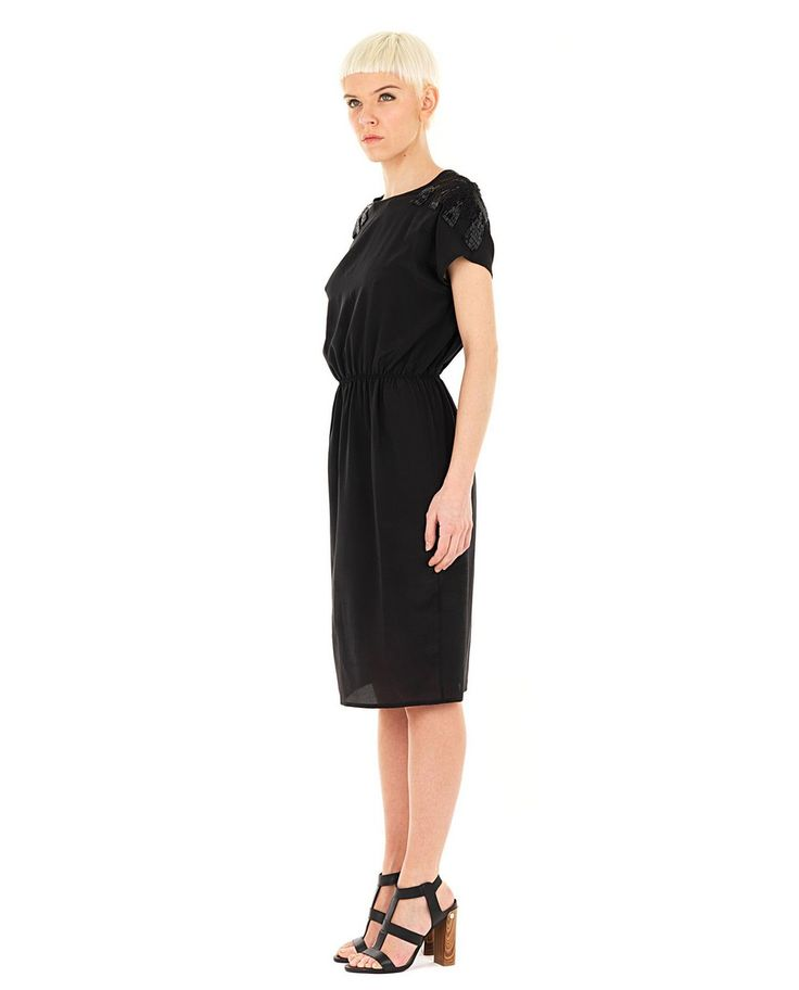 AUGUSTIN TEBOUL-50% Black silk dress crew-neck half sleeve elastic waist embroidered with paillettes 100% SE