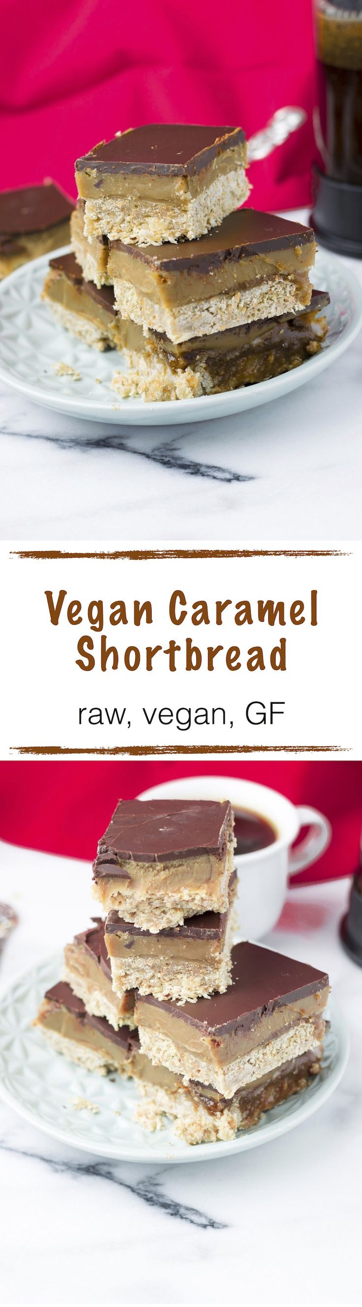 My #Vegan Caramel Shortbread is an indulgent shortbread recipe in copycat Twix style. Made in three steps from only 6 #natural ingredients without any processed or artificial flavors. Not long and you have the most indulgent #dessert you ever taste. I promise this easy recipe has it all a delicious cake base, a sinful, creamy caramel and last but not least chocolate to satisfy your cravings.