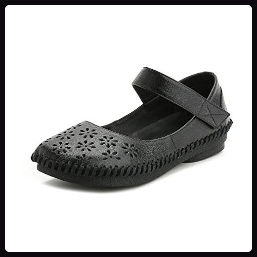 L@YC® Frauen Frühling und Sommer Sandalen Flache Mund Hollow Flache Schuhe Leder weichen unteren Pumpe Satin Hochzeit Ball Schuhe , black , 35 - Sandalen für frauen (*Partner-Link)