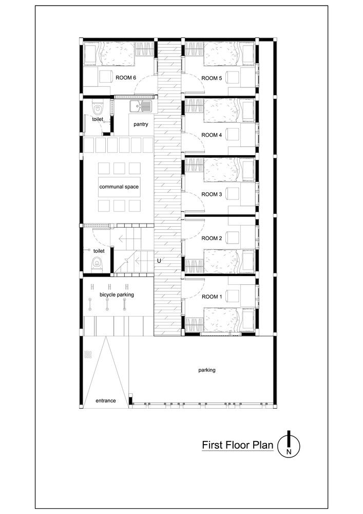 Bioclimatic and Biophilic Boarding House,Plan