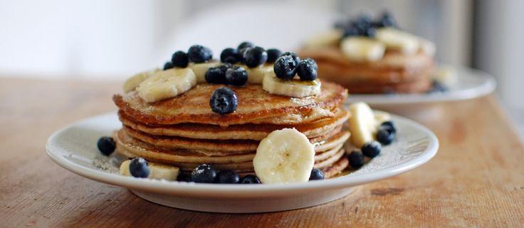 Heerlijke pannenkoeken met blauwe bessen!