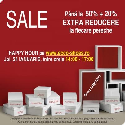 HAPPY HOUR pe www.ecco-shoes.ro. Între orele 14:00 şi 17:00, puteţi beneficia de următoarea promoţie:
