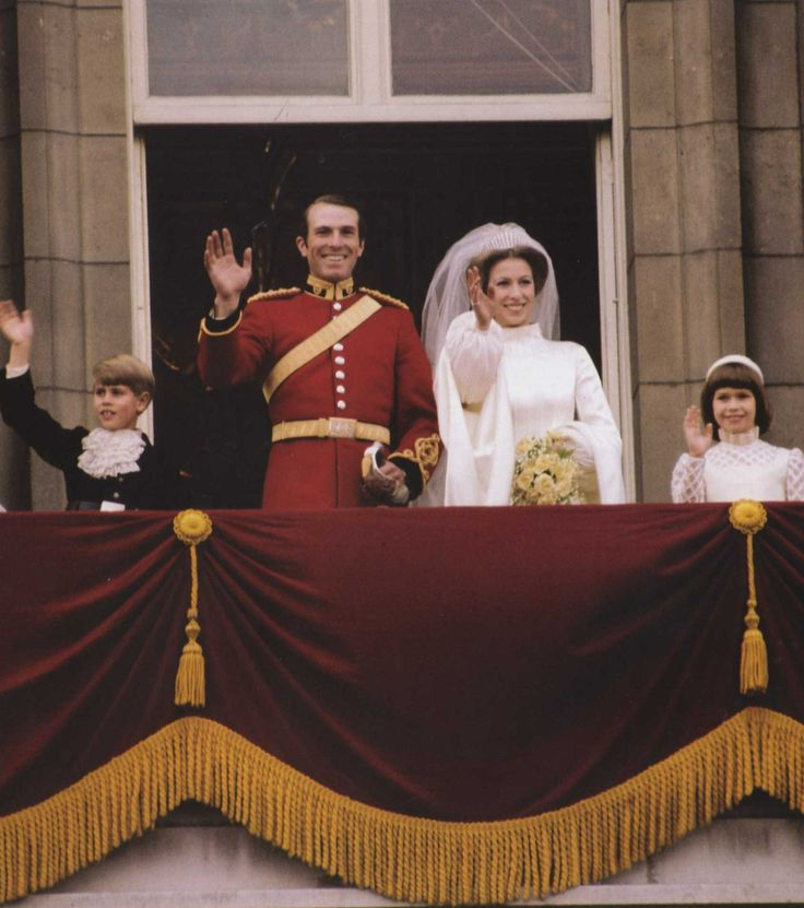 Princess Anne And Captain Mark Phillips With Bridesmaid Lady Sarah Armstrong Jones And Page Boy