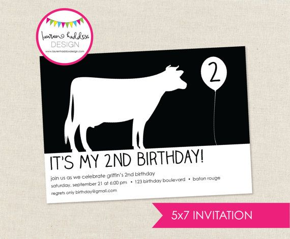DIY Cow Birthday Party INVITATION ONLY by LaurenHaddoxDesign, $14.00