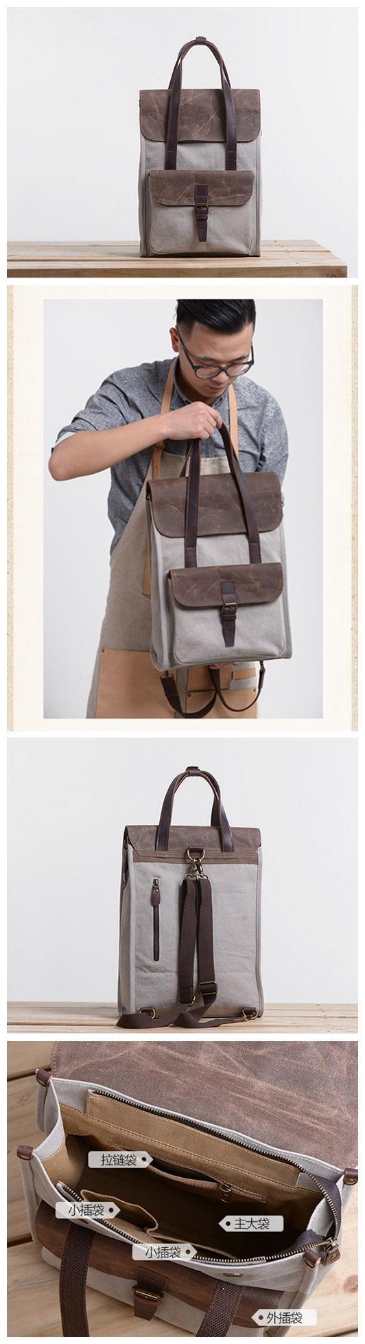 LEATHER CANVAS BAG, CANVAS LAPTOP BAG, CANVAS BAG AND BACKPACK, CANVAS BRIEFCASE XX-001