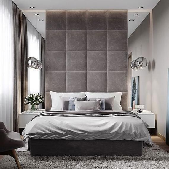 Upholsytered Panels Set Square Luxury Bedroom Master Luxurious Bedrooms Bedroom Bed Design Tall headboard bedroom ideas
