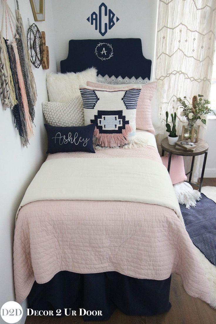 Magnolia Home Pillow Pink & Navy Boho Designer Dorm Bedding Set