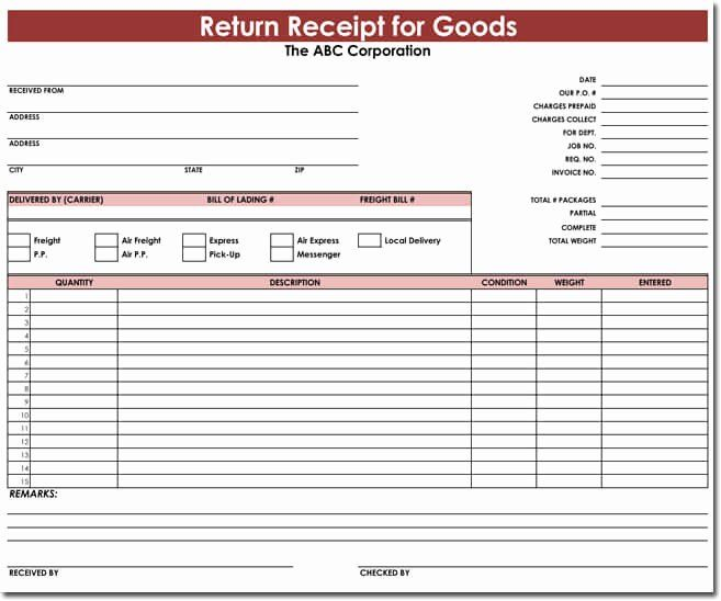Receipt Of Goods Template Beautiful Goods Return Receipt Templates Download For Excel Best Templates Receipt Template Templates
