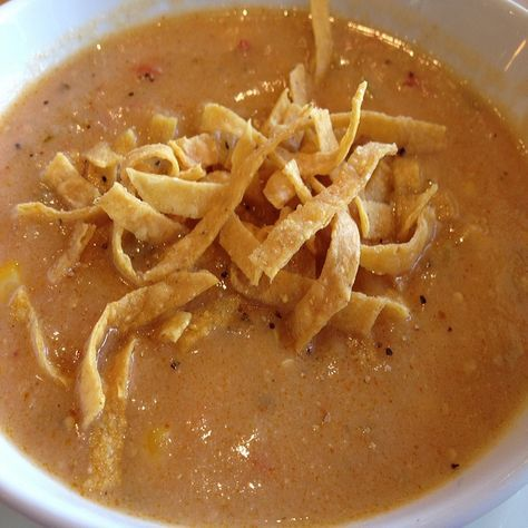 California Pizza Kitchen Sedona White Corn Tortilla Soup - CopyKat Recipe - Love this soup.  Can eat hot or cold and doubles easily.  It is only as good as the tomatoes.