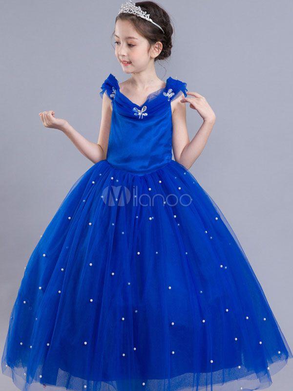 Cinderella Dresses Little Girls Royal Blue Flower Girl Dress Princess Beaded  Kids Pageant Party Dress 3c40773265fd
