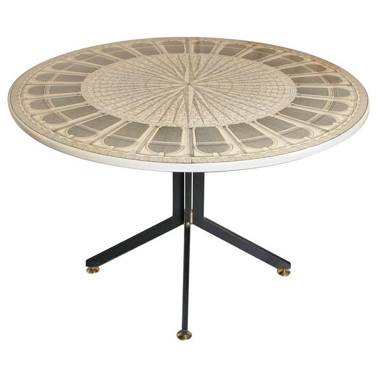 "Fornasetti ""Architettura"" Circular Table"