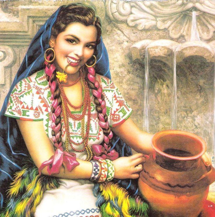 cuquita y la fuente- 1953 jose helguera pintor mexicano