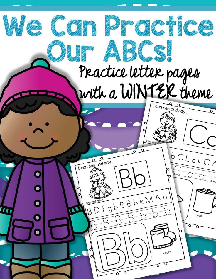 Winter theme activity pages reviewing the upper and lower letters of the alphabet, and initial sounds, for preschool, pre-K and Kindergarten children.   • Recognize and read the letter in the box, in its upper and lower case form. • Find all the featured letters in the row of letters – color or stamp them. • Trace the letters. • Decorate the large letters. • Recognize the initial sound picture, and name it. Say the sound, if it is known. The pictures are related to a Winter topic.