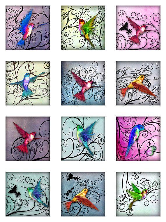 Hummingbirds Pastel Watercolor Paper Digital by pixeltwister