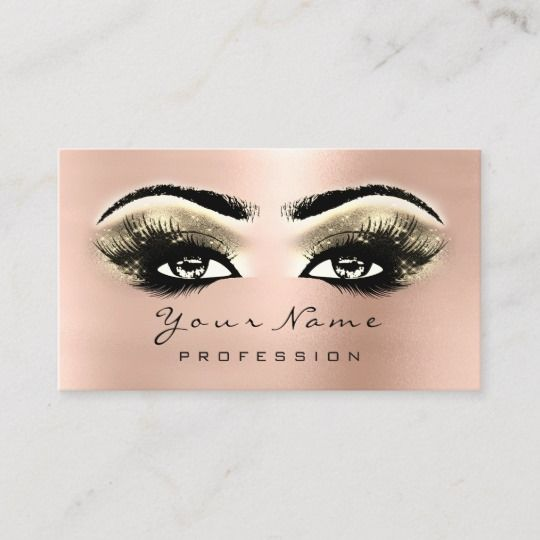 eaac1048b45 Gold Makeup Eyes Lashes Pink Rose Appointment Card | Zazzle.com in ...