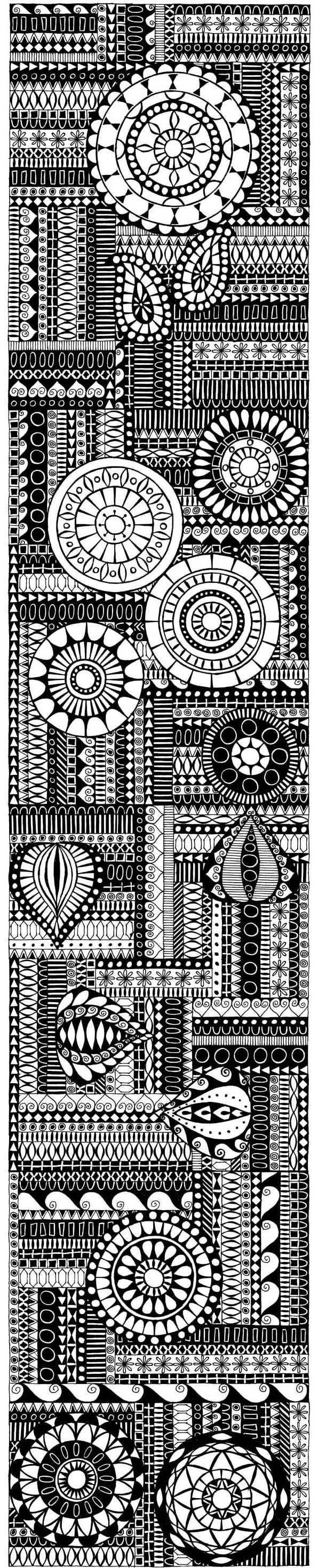 I can see this idea in a hooked rug!  Don't copy but make up your own combination of blocks and circles.: Patterns Drawings, Zentangle Doodles Ideas, Zendala Patterns, Doodles Inspiration, Circles Zentangle Doodles, Zen Doodle, Art Zentangle, Aztec Drawings Patterns, Aztec Design Art
