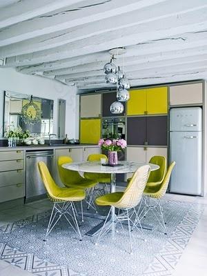 yellow and gray kitchen/retro, check out that  FRIDGE