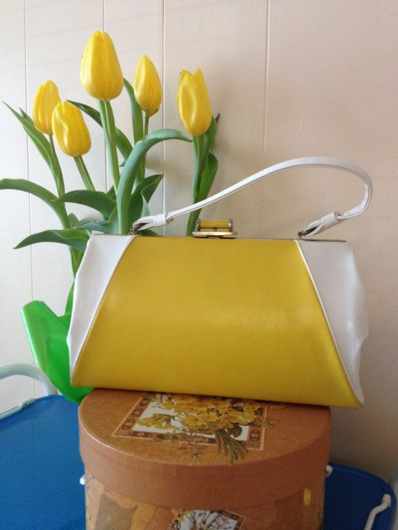 Vintage 50's yellow purse 1950's handbag retro by MyBijouxBoutique, $35.00