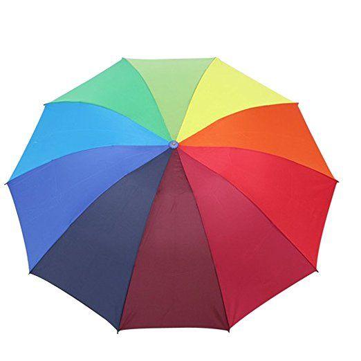 Arc-en-ciel Parapluie Pliant Solide Automatique Léger Anti UV pr Enfant et Adulte