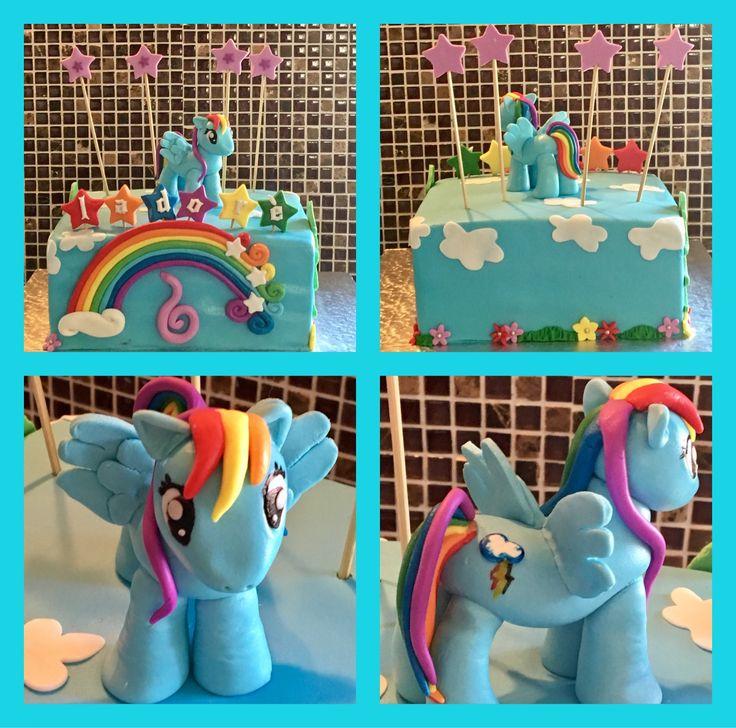 Fondant Rainbow Dash my little pony birthday cake