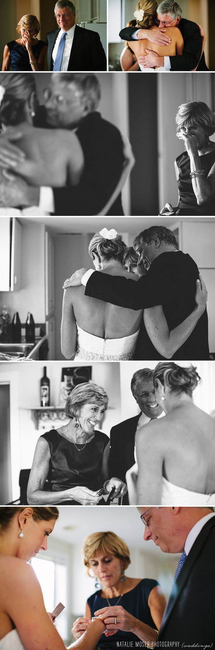 Such a sweet moment. Bride's dad sees his daughter on her wedding day for the first time.  Mom looks on in tears. | wedding photography by Natalie Moser