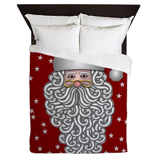 Cool holiday bedding with Santa Claus and stars over a Christmas-red background
