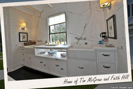 Marble back splash with horizontal planking.  Celebrity house for sale: Tim McGraw and Faith Hill