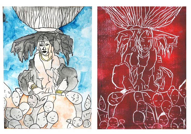 Left- WaterColour and Pencil Illustration  Right - Screen-printing