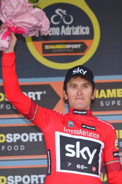 52nd TirrenoAdriatico 2017 / Stage 2  Podium / Geraint THOMAS Red Points Jersey / Celebration / Camaiore Pomarance 364m /