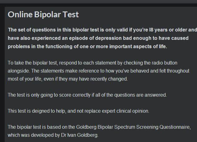 Online Bipolar Screening Test - 10 questions