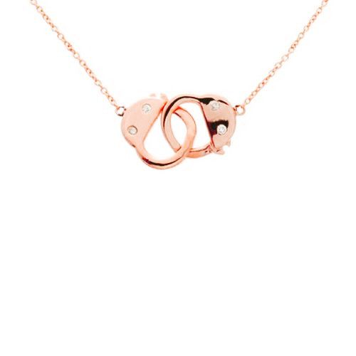 Rose Gold Vermeil Handcuff Necklace 16-17 inch