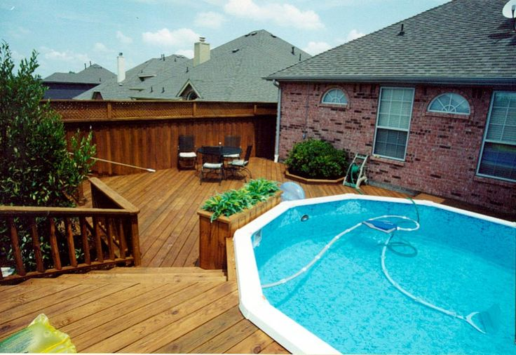 151 best pool decks images on pinterest ground pools for Above ground pool decks for small yards