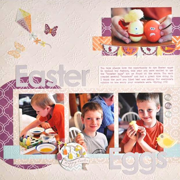 Easter Embellishments Limited Edition Scrapbook Layout Idea from Creative Memories Project Center.  Vintage Chic and It's a Girl Embossed Card Stock, Tiny Treasures Cricut Cartridge, ___ Instructions:  http://projectcenter.creativememories.com/photos/our_newest_project_ideas/easter-embellishments-limited-edition-scrapbook-layout-idea.html