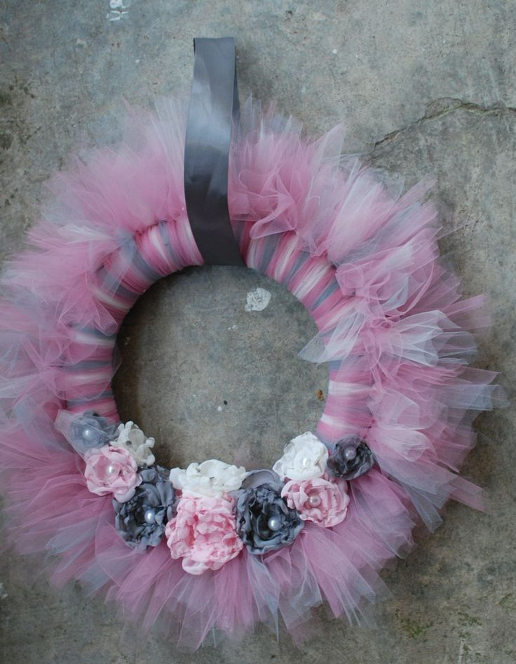 Shabby Chic Tu-Tu Tulle Wreath- Gray Grey and Pink with Chiffon Roses and Pearl Centers- Ready to ship. $55.00, via Etsy.
