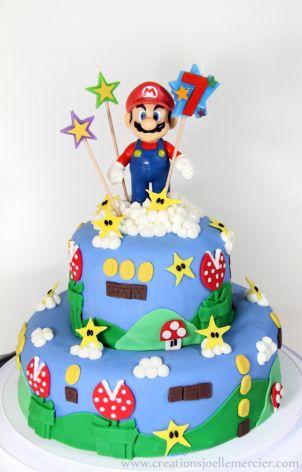 Gâteau Mario Bros, Mario cake, décoration réalisé en fondant par Joëlle Mercier