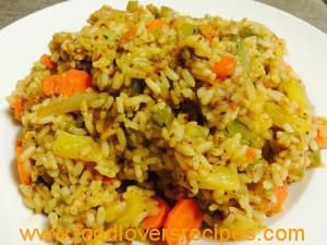Veggies and Rice with herbs and pineapple