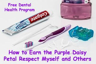 Ho to earn the Purple Daisy Girl Scout petal with free dental health items from Colgate.