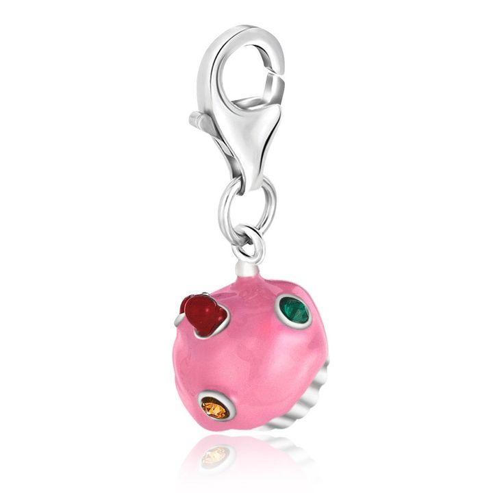 Sterling Silver Pink Enameled Cupcake Charm