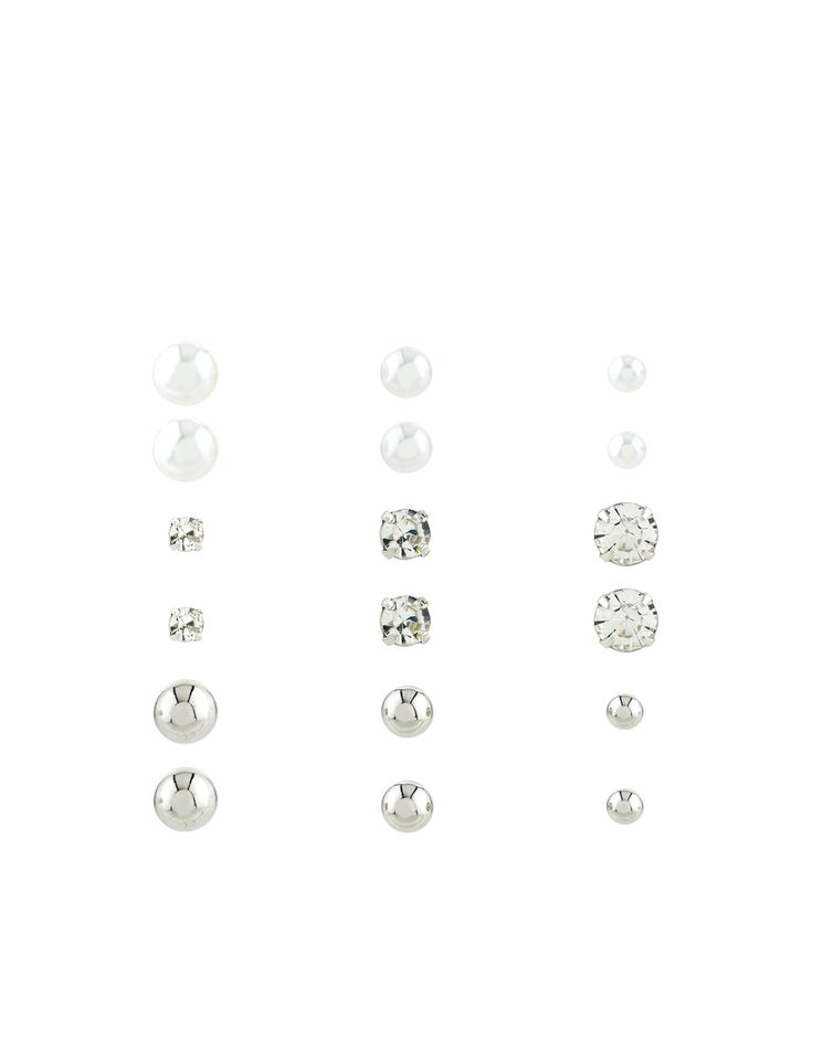 Timeless and versatile, this nine-pair pack of classic stud earrings feature crystal gem and faux pearl pieces in varying sizes. Please be aware that this item is non-refundable.