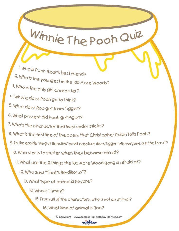Printable Winnie the Pooh Quiz Coolest Free Printables