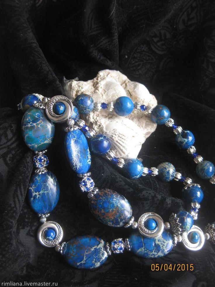 """Купить Бусы длинные """"Море!"""". Варисцит. - подарок, натуральные камни, римляна, варисцит, море, украшения"""