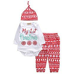Newborn Boy Girl 3pcs Christmas Xmas Suit Snow Long Sleeve Romper+Long Pants+Hat (6-12months, White)