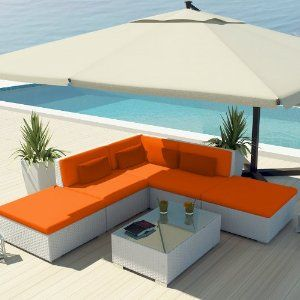 Uduka Outdoor Sectional Patio Modern Furniture White Wicker Sofa Set Porto  6 Orange All Weather Couch