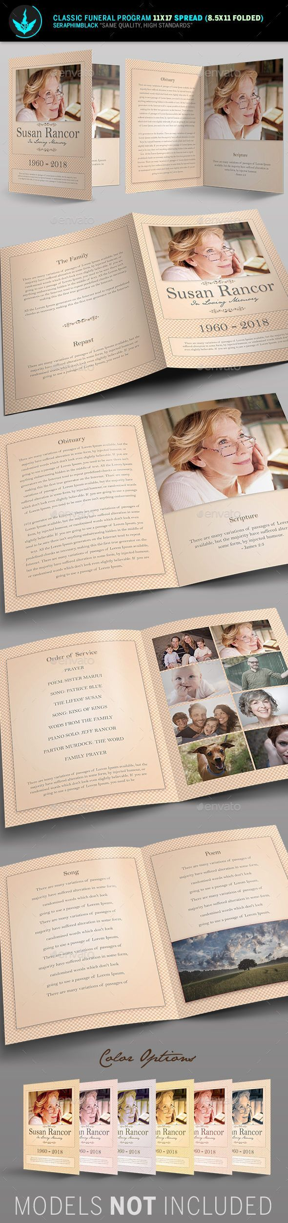 Classic Funeral Program Template  Need a unique funeral program booklet design with a vintage look for the deceased? Look no further, this file is easy to use and will give you a wonderful, clean presentation. Customize this flexible file in multiple ways to honor your loved one.