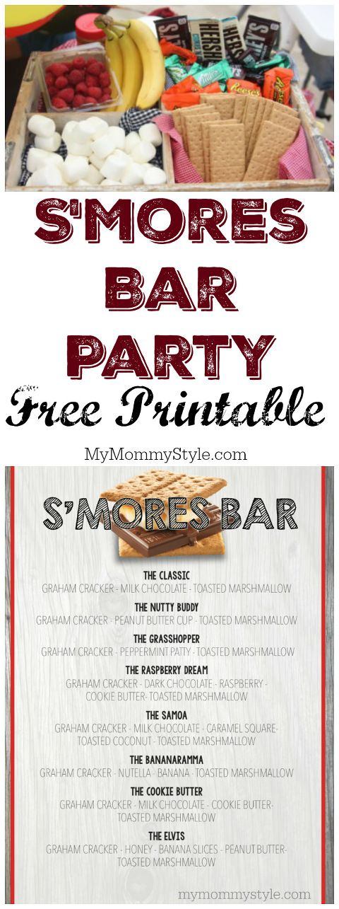 S'more Party is such a fun way to add a unique twist to a traditional American treat. Enjoy this free s'mores bar free printable! This is so cute!