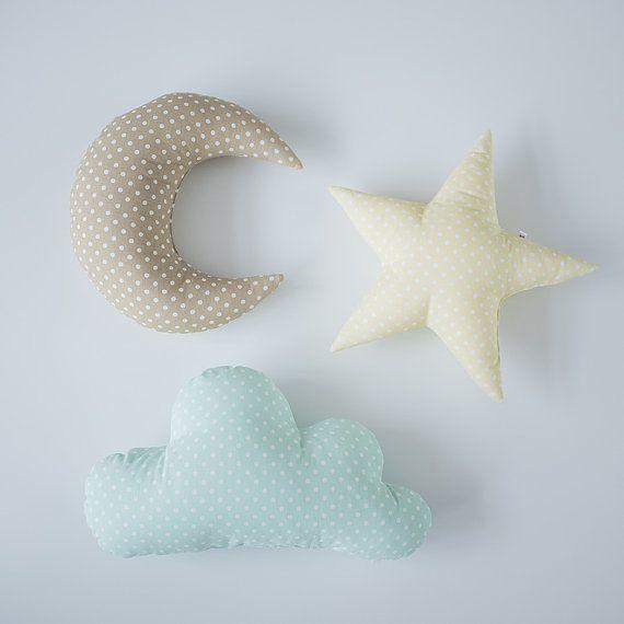 Pastell set Cloud Star Mondförmiges Kissen Minze von CotandCot