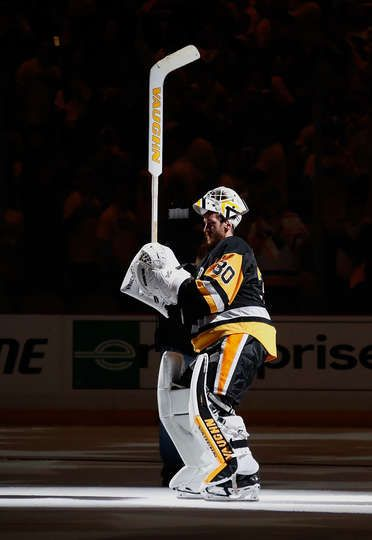 MAY 2: Matt Murray #30 of the Pittsburgh Penguins acknowledges the crowd after being named the first start of the game against the Washington Capitals in Game Three of the Eastern Conference Second Round during the 2016 NHL Stanley Cup Playoffs at Consol Energy Center on May 2, 2016 in Pittsburgh, Pennsylvania. Pittsburgh won the game 3-2.