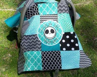 Disney Nightmare Before Christmas - Jack Skellington Baby Infant Car Seat Cover Turquoise/ Nursing Cape / Blanket w/ pocket!
